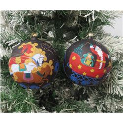 "Qty 2 Christmas Tree Ornaments: 2008 Sleigh Ball & Santa Approx. 5"" Diameter"