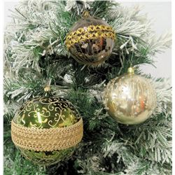 """Qty 3 Christmas Tree Ornaments: 2001 Red Ball, White & Gold 3""""-5"""" Diameter"""