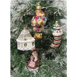 Qty 4 Christmas Tree Ornaments: Carolers, Snowmen, Igloo & Santa