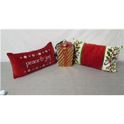 Qty 2 Holiday Pillows: Holly, 'Peace & Joy' & Gift Box