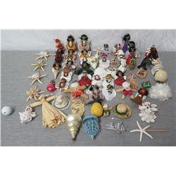Approx. 45 Hawaiian Christmas Tree Ornaments: Angels, Starfish, Hula, etc