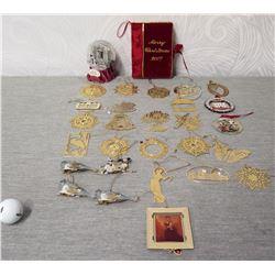 Qty Approx. 27 Christmas Tree Ornaments: Flat Metal, Whales, Snow Globe, etc