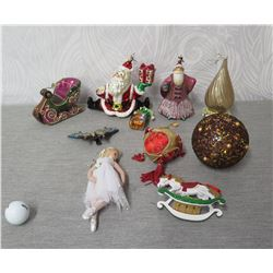 Qty 8 Christmas Tree Ornaments: Santa & Sleigh, Ball, Angel, Butterfly, etc