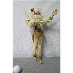 "Santa Figurine in Fur Coat & Hat Signed Lynn West 2012 - 16"" Tall"