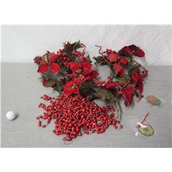 Qty 2 Artificial Poinsettia Decorations, Red Beads & Ornament