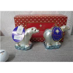 "Qty 2 Christopher Radko WWF Polar Bears in Box Made in Poland 6"" Long"