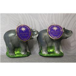 """Qty 2 Christopher Radko WWF Elephants w/ Calf 5"""" Height"""
