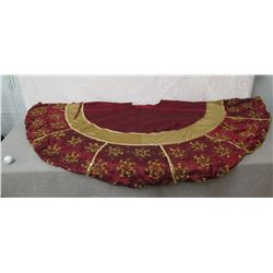 Frontgate Holiday Collection Floral Red/Gold Embroidered Christmas Tree Skirt