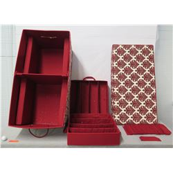 """Red Multi-Section Ornament Storage Box w/  Lid 38"""" x 18"""" Ht"""