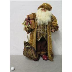 "Tucks Santa Figurine in Beaded Coat & Hat w/ Presents 36"" Tall"