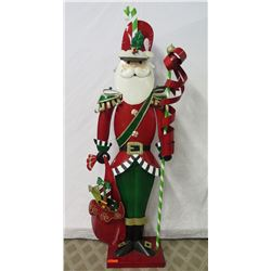 Life Size Wooden Santa w/ Gifts Statue