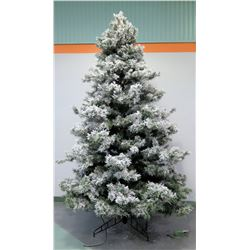 Full-Size Artificial Flocked Christmas Tree in 3 Sections