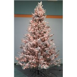 Full Size Artificial Flocked & Lighted Christmas Tree