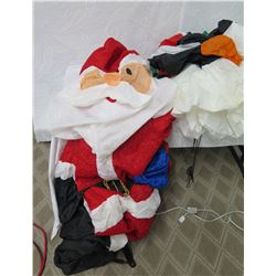 Life Size Air Blown Santa & Penguins on Mailbox Yard Decorations