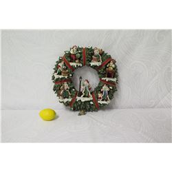 "Thomas Kinkade The Light of St. Nicholas Wreath Wall Hanging, Limited Edition, 15"" Dia."