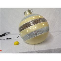 Giant Striped Christmas Ball Ornament Light-Up Holiday Decor (lemon shown for sizing perspective)