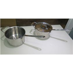 "Qty 2 All-Clad Metalcrafters Stainless Steel 9"" Stock Pots (1 w/ Lid)"