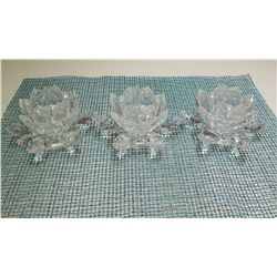 Qty 3 Shannon Crystal Glass Lotus Flower Candle Holders