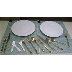 Qty 2 Round Plates & 2 Place Settings Flatware