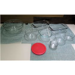 Qty 8 Clear Glass Mixing Bowls & Baking Dishes Misc Shapes & Size