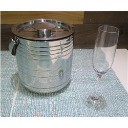 Metal Insulated Ice Bucket w/ Lid & Champagne Flute