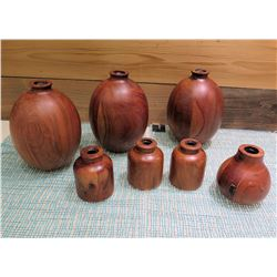 Qty 7 Carved Wooden Jars Containers