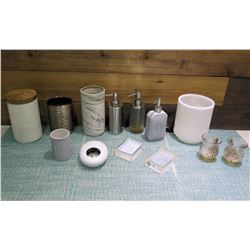 Multiple Decorative Soap Dispensers, Round Containers, Votive Holders, etc