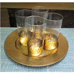Qty 4 Argea Gold Glasses (Retail $15 each) & Round Tray