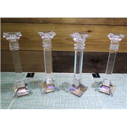 "Qty 4 Marquis by Waterford Lead Crystal Candle Holders 10"" High"