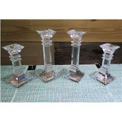 "Qty 4 Marquis by Waterford Lead Crystal Candle Holders 6"" & 8"" High"