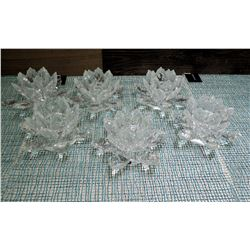 Qty 6 Shannon Crystal Glass Lotus Flower Candle Holders