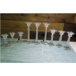 Qty 9 Marquis by Waterford Lead Crystal Candle Holders 3 Heights