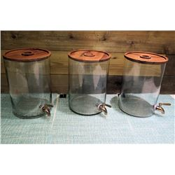 Qty 3 Round Clear Beverage Dispensers w/ Lids & Spouts