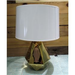 """Geometric Shaped Gold Color Lamp Base w/ White Shade 22.5"""" High"""
