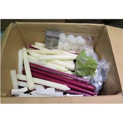Box of Candles: Red & White Tapers, Votives, etc