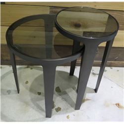 """Black 2 Tier Round End Table 21""""x12""""x21"""" High"""