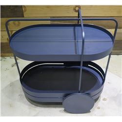 """Blue 2 Tier Oval End Table w/ Metal Accents 28""""x16""""x30"""" High"""
