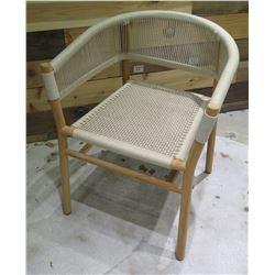 "Ethimo Kilt Woven Dining Arm Chair w/ Wooden Base 22"" Diameter x 30"" High"