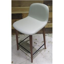 """Jobs Bacco Series Italy Bar-Height Stool Chair White w/ Wooden Legs 35""""H"""