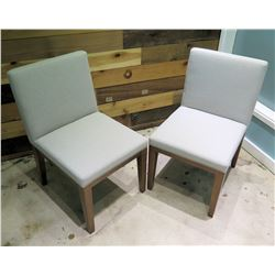 """Qty 2 Berman Falk Off White Upholstered Chair w/ Wooden Base 33""""High"""
