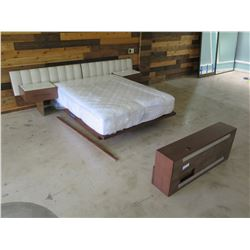 Berman Falk Bed Frame, Mattress, Pad Headboard, Footboard Shelf, 2 End Tables