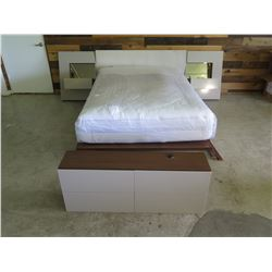 New Bed Frame, Mattress, Headboard, Footboard Shelf, 2 End Tables
