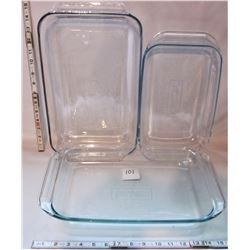 3 PYREX CAKE PANS CLEAR GLASS