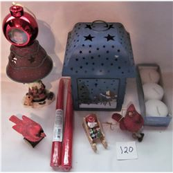 LOT XMAS DECORATIONS, CANDLE HOLDERS