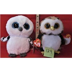 PAIR TY BEANIE BOO PLUSH OWLS SPELLS & OLIVER