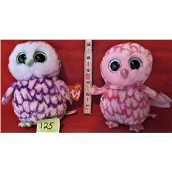 PAIR TY BEANIE BOO PLUSH OWLS PIPPER & PINKY