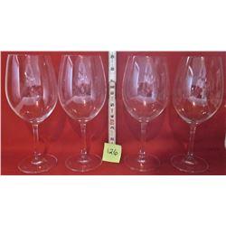 BOXED SET 4 GERMAN CRYSTAL GLASS WINE GOBLETS