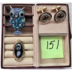 RHINESTONE OWL RING, GOLD TONE FILAGREE RING, BLACK OVAL STONE, PAIR CANADIAN CENTENNIAL MENS BOXED