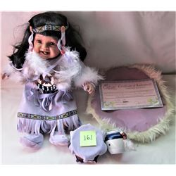 LIMITED EDITION # 494/5000 PORCELAIN ABORIGINAL DOLL MALLORY W/ CERITIFICATE OF AUTHENTICITY
