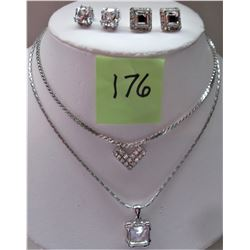 "2 16"" SILVER TONE RHINESTONE NECKLACE, MATCHING PIERCED EARRINGS"